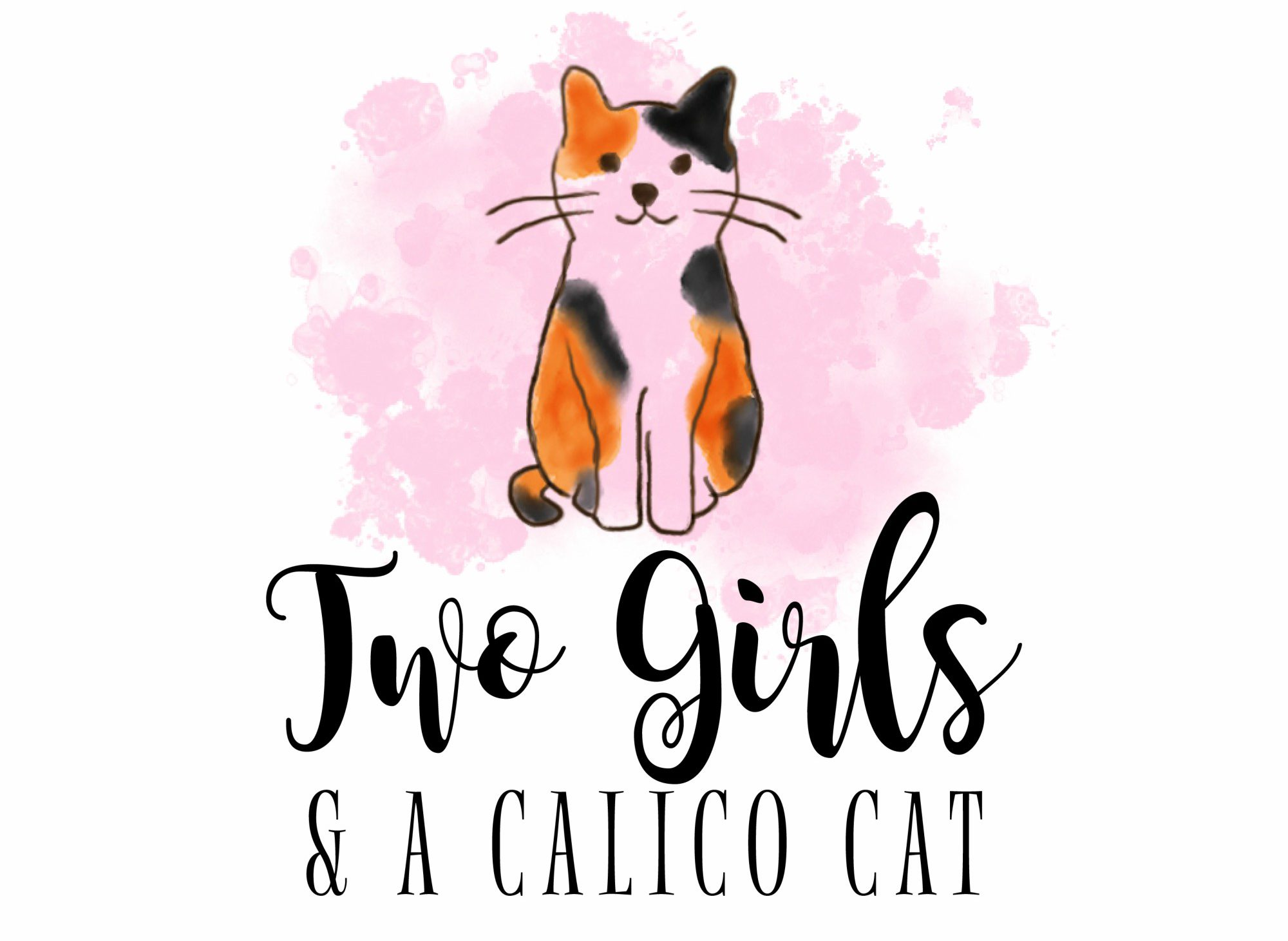 Two Girls and a Calico Cat